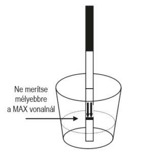 Az ovulácós teszt használata során a tesztcsíkot ne merítse mélyebbre a MAX vonalnál